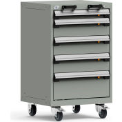 """Rousseau Metal 5 Drawer Heavy-Duty Mobile Modular Drawer Cabinet - 24""""Wx27""""Dx39-1/4""""H Light Gray"""
