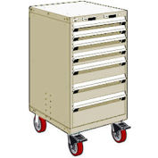 "Rousseau Metal 7 Drawer Heavy-Duty Mobile Modular Drawer Cabinet - 24""Wx27""Dx45-1/2""H Beige"
