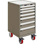 "Rousseau Metal 7 Drawer Heavy-Duty Mobile Modular Drawer Cabinet - 24""Wx27""Dx45-1/2""H Light Gray"