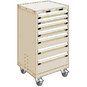 """Rousseau Metal 7 Drawer Heavy-Duty Mobile Modular Drawer Cabinet - 24""""Wx27""""Dx43-1/4""""H Beige"""