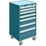 """Rousseau Metal 7 Drawer Heavy-Duty Mobile Modular Drawer Cabinet - 24""""Wx27""""Dx43-1/4""""H Everest Blue"""
