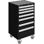 "Rousseau Metal 7 Drawer Heavy-Duty Mobile Modular Drawer Cabinet - 24""Wx27""Dx43-1/4""H Black"