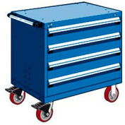 "Rousseau Metal 4 Drawer Heavy-Duty Mobile Modular Drawer Cabinet - 30""Wx21""Dx35-1/2""H Avalanche Blue"