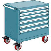 "Rousseau Metal 6 Drawer Heavy-Duty Mobile Modular Drawer Cabinet - 30""Wx21""Dx37-1/2""H Everest Blue"