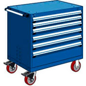 "Rousseau Metal 6 Drawer Heavy-Duty Mobile Modular Drawer Cabinet - 30""Wx21""Dx37-1/2""H Avalanche Blue"