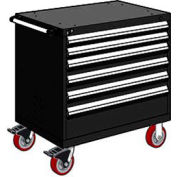 "Rousseau Metal 6 Drawer Heavy-Duty Mobile Modular Drawer Cabinet - 30""Wx21""Dx37-1/2""H Black"