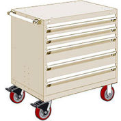 "Rousseau Metal 5 Drawer Heavy-Duty Mobile Modular Drawer Cabinet - 30""Wx21""Dx37-1/2""H Beige"