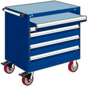 """Rousseau Metal 4 Drawer Heavy-Duty Mobile Modular Drawer Cabinet - 30""""Wx21""""Dx37-1/2""""H Avalanche Blue"""