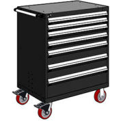 "Rousseau Metal 7 Drawer Heavy-Duty Mobile Modular Drawer Cabinet - 30""Wx21""Dx45-1/2""H Black"