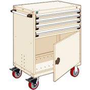 "Rousseau Metal 4 Drawer Heavy-Duty Mobile Modular Drawer Cabinet - 30""Wx21""Dx45-1/2""H Beige"