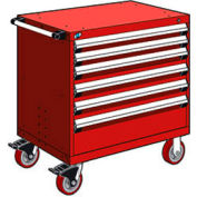 """Rousseau Metal 6 Drawer Heavy-Duty Mobile Modular Drawer Cabinet - 30""""Wx27""""Dx37-1/2""""H Red"""