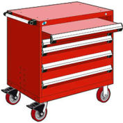 "Rousseau Metal 4 Drawer Heavy-Duty Mobile Modular Drawer Cabinet - 30""Wx27""Dx37-1/2""H Red"