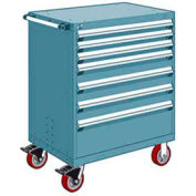 """Rousseau Metal 7 Drawer Heavy-Duty Mobile Modular Drawer Cabinet - 30""""Wx27""""Dx45-1/2""""H Everest Blue"""