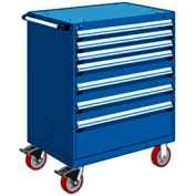 """Rousseau Metal 7 Drawer Heavy-Duty Mobile Modular Drawer Cabinet - 30""""Wx27""""Dx45-1/2""""H Avalanche Blue"""