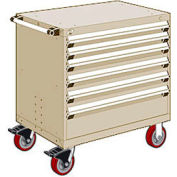 "Rousseau Metal 6 Drawer Heavy-Duty Mobile Modular Drawer Cabinet - 36""Wx18""Dx37-1/2""H Beige"