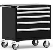"Rousseau Metal 5 Drawer Heavy-Duty Mobile Modular Drawer Cabinet - 36""Wx18""Dx37-1/2""H Black"