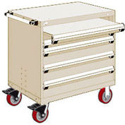 "Rousseau Metal 4 Drawer Heavy-Duty Mobile Modular Drawer Cabinet - 36""Wx18""Dx37-1/2""H Beige"