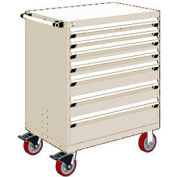 """Rousseau Metal 7 Drawer Heavy-Duty Mobile Modular Drawer Cabinet - 36""""Wx18""""Dx45-1/2""""H Beige"""
