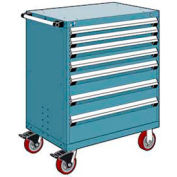 """Rousseau Metal 7 Drawer Heavy-Duty Mobile Modular Drawer Cabinet - 36""""Wx18""""Dx45-1/2""""H Everest Blue"""