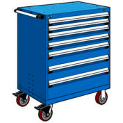 """Rousseau Metal 7 Drawer Heavy-Duty Mobile Modular Drawer Cabinet - 36""""Wx18""""Dx45-1/2""""H Avalanche Blue"""