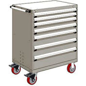 """Rousseau Metal 7 Drawer Heavy-Duty Mobile Modular Drawer Cabinet - 36""""Wx18""""Dx45-1/2""""H Light Gray"""