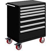 "Rousseau Metal 7 Drawer Heavy-Duty Mobile Modular Drawer Cabinet - 36""Wx18""Dx45-1/2""H Black"