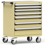 """Rousseau Metal 7 Drawer Heavy-Duty Mobile Modular Drawer Cabinet - 36""""Wx24""""Dx45-1/2""""H Beige"""