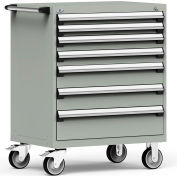 """Rousseau Metal 7 Drawer Heavy-Duty Mobile Modular Drawer Cabinet - 36""""Wx24""""Dx45-1/2""""H Light Gray"""