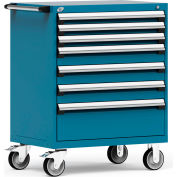 "Rousseau Metal 7 Drawer Heavy-Duty Mobile Modular Drawer Cabinet - 36""Wx24""Dx45-1/2""H Everest Blue"