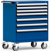 """Rousseau Metal 7 Drawer Heavy-Duty Mobile Modular Drawer Cabinet - 36""""Wx24""""Dx45-1/2""""H Avalanche Blue"""