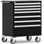 "Rousseau Metal 7 Drawer Heavy-Duty Mobile Modular Drawer Cabinet - 36""Wx24""Dx45-1/2""H Black"