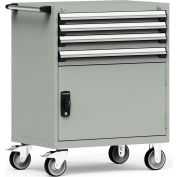 """Rousseau Metal 4 Drawer Heavy-Duty Mobile Modular Drawer Cabinet - 36""""Wx24""""Dx45-1/2""""H Light Gray"""