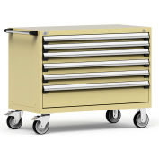 """Rousseau Metal 6 Drawer Heavy-Duty Mobile Modular Drawer Cabinet - 48""""Wx24""""Dx37-1/2""""H Beige"""