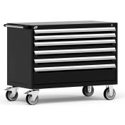"Rousseau Metal 6 Drawer Heavy-Duty Mobile Modular Drawer Cabinet - 48""Wx24""Dx37-1/2""H Black"