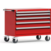 """Rousseau Metal 5 Drawer Heavy-Duty Mobile Modular Drawer Cabinet - 48""""Wx24""""Dx37-1/2""""H Red"""