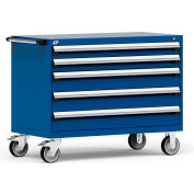 """Rousseau Metal 5 Drawer Heavy-Duty Mobile Modular Drawer Cabinet - 48""""Wx24""""Dx37-1/2""""H Avalanche Blue"""
