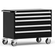 "Rousseau Metal 5 Drawer Heavy-Duty Mobile Modular Drawer Cabinet - 48""Wx24""Dx37-1/2""H Black"