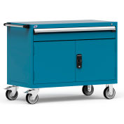 "Rousseau Metal 1 Drawer Heavy-Duty Mobile Modular Drawer Cabinet - 48""Wx24""Dx37-1/2""H Everest Blue"
