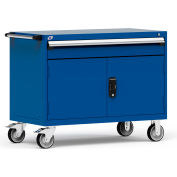 """Rousseau Metal 1 Drawer Heavy-Duty Mobile Modular Drawer Cabinet - 48""""Wx24""""Dx37-1/2""""H Avalanche Blue"""