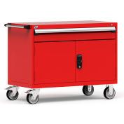 """Rousseau Metal 1 Drawer Heavy-Duty Mobile Modular Drawer Cabinet - 48""""Wx24""""Dx37-1/2""""H Red"""