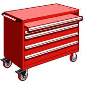 """Rousseau Metal 4 Drawer Heavy-Duty Mobile Modular Drawer Cabinet - 48""""Wx27""""Dx37-1/2""""H Red"""