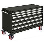 "Rousseau Metal 6 Drawer Heavy-Duty Mobile Modular Drawer Cabinet - 60""Wx24""Dx37-1/2""H Black"
