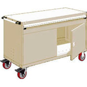 """Rousseau Metal 1 Drawer Heavy-Duty Mobile Modular Drawer Cabinet - 60""""Wx24""""Dx37-1/2""""H Beige"""
