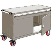 """Rousseau Metal 1 Drawer Heavy-Duty Mobile Modular Drawer Cabinet - 60""""Wx24""""Dx37-1/2""""H Light Gray"""