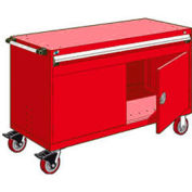 """Rousseau Metal 1 Drawer Heavy-Duty Mobile Modular Drawer Cabinet - 60""""Wx24""""Dx37-1/2""""H Red"""