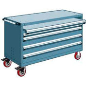 """Rousseau Metal 4 Drawer Heavy-Duty Mobile Modular Drawer Cabinet - 60""""Wx24""""Dx37-1/2""""H Everest Blue"""