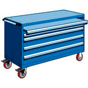 "Rousseau Metal 4 Drawer Heavy-Duty Mobile Modular Drawer Cabinet - 60""Wx24""Dx37-1/2""H Avalanche Blue"
