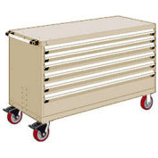"""Rousseau Metal 6 Drawer Heavy-Duty Mobile Modular Drawer Cabinet - 60""""Wx27""""Dx37-1/2""""H Beige"""