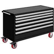 "Rousseau Metal 6 Drawer Heavy-Duty Mobile Modular Drawer Cabinet - 60""Wx27""Dx37-1/2""H Black"