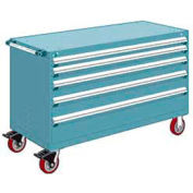 """Rousseau Metal 5 Drawer Heavy-Duty Mobile Modular Drawer Cabinet - 60""""Wx27""""Dx37-1/2""""H Everest Blue"""